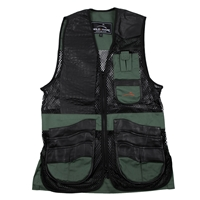 Wild Hare Range Vest Leather and Mesh -- Hunter Green and Black mesh shooting vest, heatwave, trap, skeet, sporting clays vest, leather trap vest, leather shooting vest, wild hare vest, wild hare shooting gear