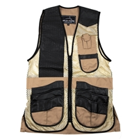 Wild Hare Range Vest Leather and Mesh  -- Khaki and Black mesh shooting vest, heatwave, trap, skeet, sporting clays vest, leather trap vest, leather shooting vest, wild hare vest, wild hare shooting gear